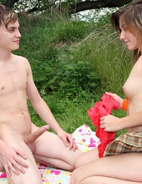 Very horny teenage brunette drilled doggystyle outdoors